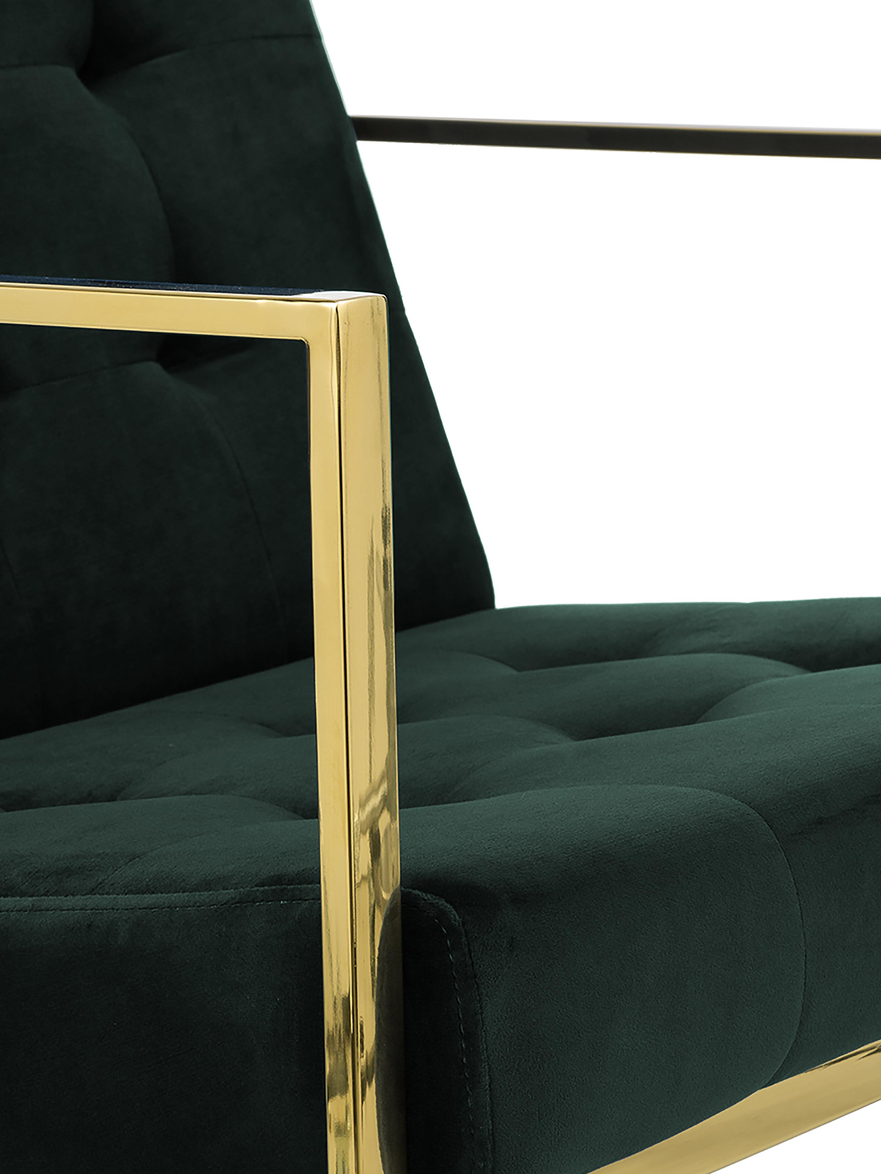 Samt-Loungesessel Manhattan in Grün, Bezug: Samt (Polyester), Gestell: Metall, beschichtet, Samt Dunkelgrün, B 70 x T 72 cm