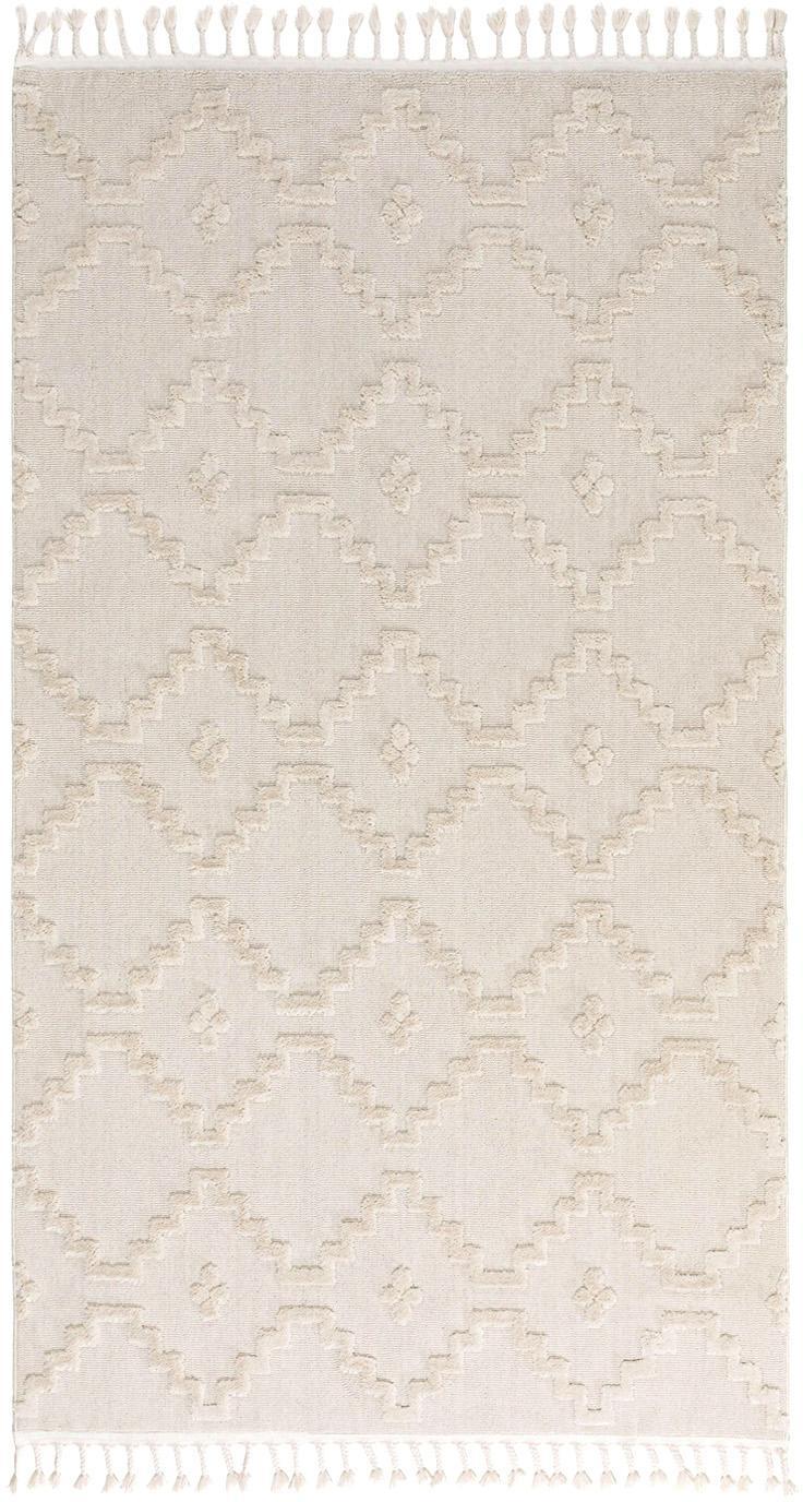 Teppich Oyo in Creme mit Reliefoptik, Flor: Polyester, Creme, B 80 x L 150 cm (Größe XS)