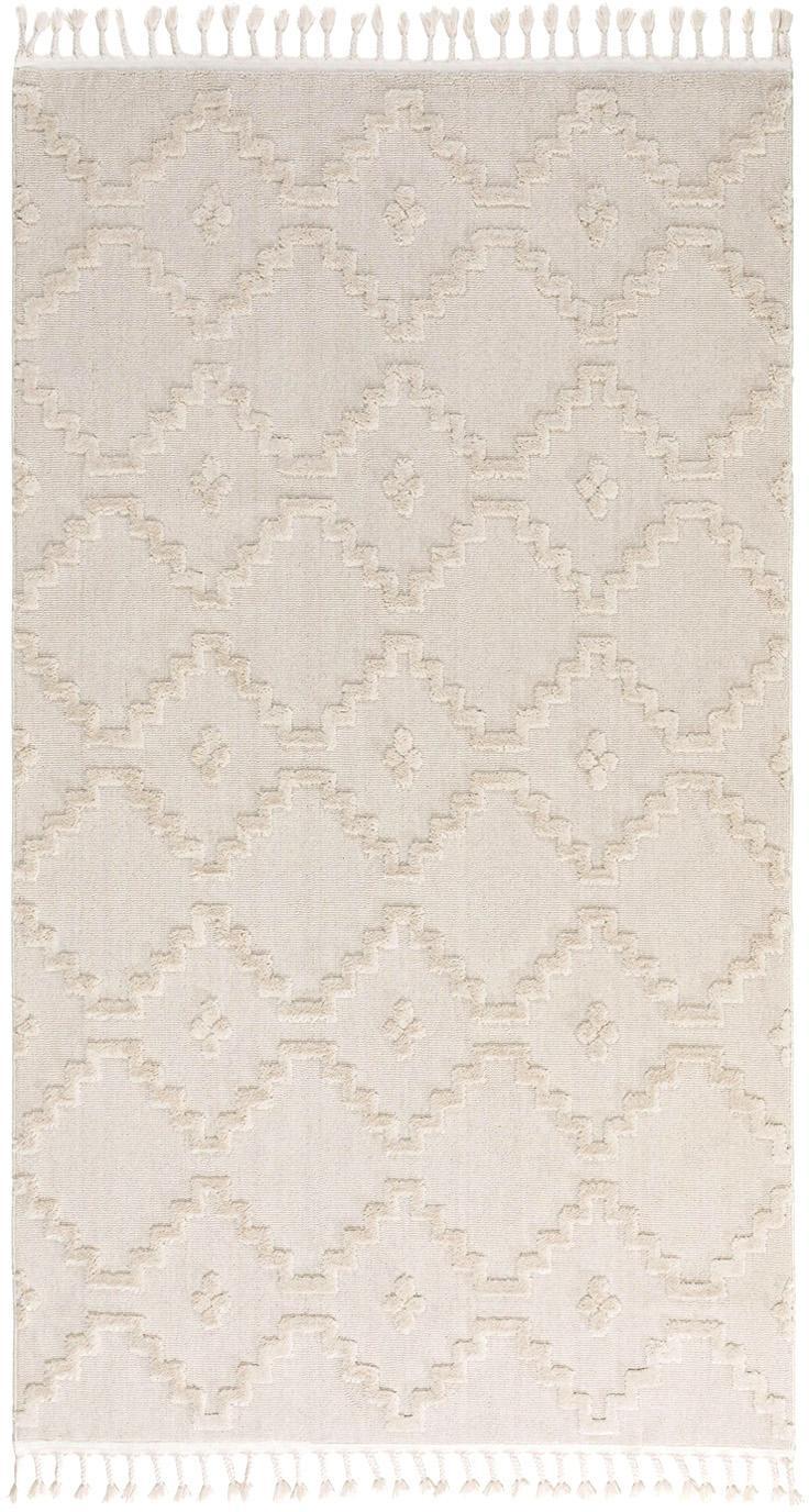 Teppich Oyo in Creme mit Hoch-Tiefmuster im Boho Stil, Flor: Polyester, Creme, B 80 x L 150 cm (Größe XS)