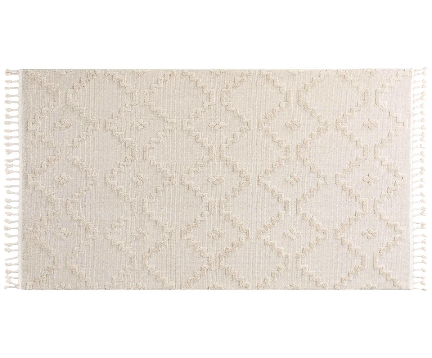 Vloerkleed Oyo in crème kleur met optisch reliëf, Bovenzijde: polyester, Onderzijde: katoen, Crèmekleurig, B 80 x L 150 cm (maat XS)
