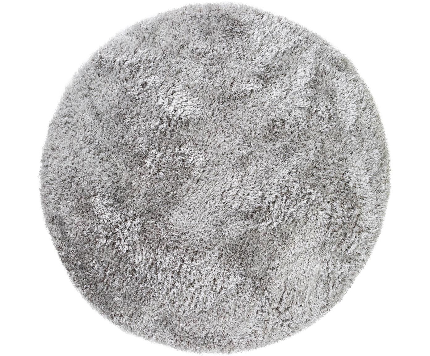 Glanzend hoogpolig vloerkleed Lea, rond, 50% polyester, 50% polypropyleen, Grijs, Ø 120 cm (maat S)