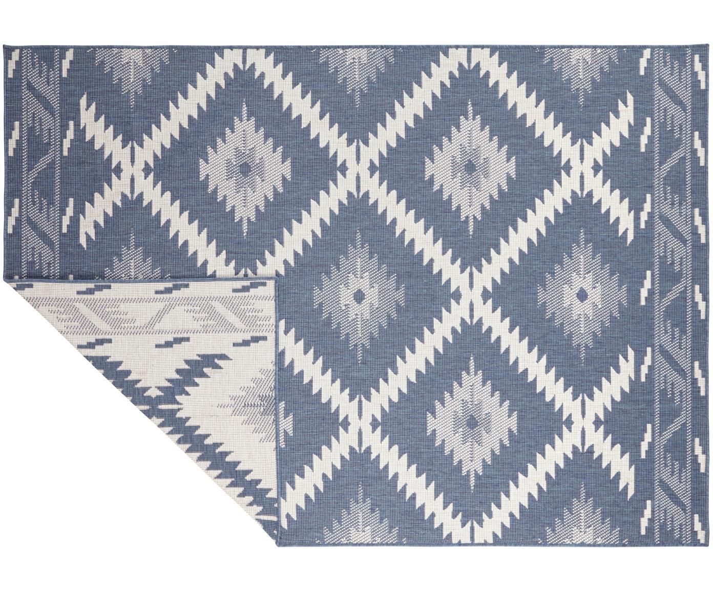 Dubbelzijdig in- & outdoor vloerkleed Malibu, Blauw, crèmekleurig, B 120 x L 170 cm (maat S)