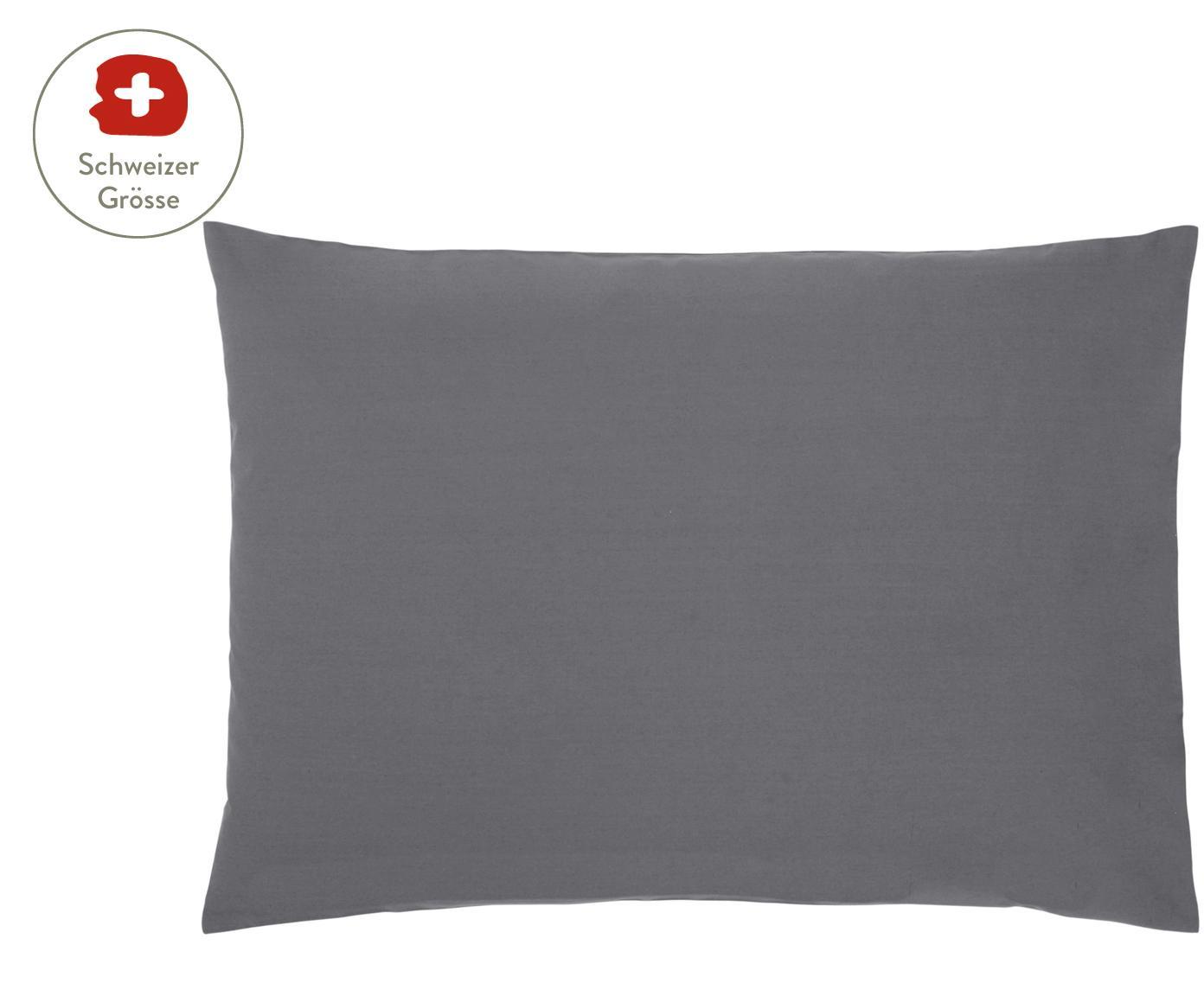 Baumwollperkal-Kissenbezug Elsie in Dunkelgrau, Webart: Perkal Fadendichte 200 TC, Dunkelgrau, 50 x 70 cm