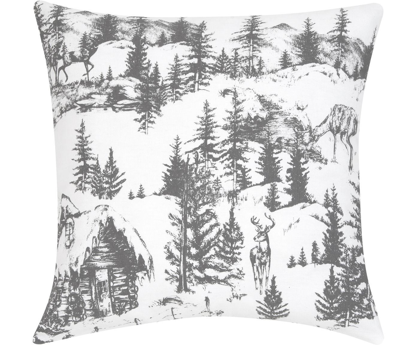 Kissenhülle Festive mit winterlichem Motiv, Baumwolle, Dunkelgrau, Weiß, 40 x 40 cm