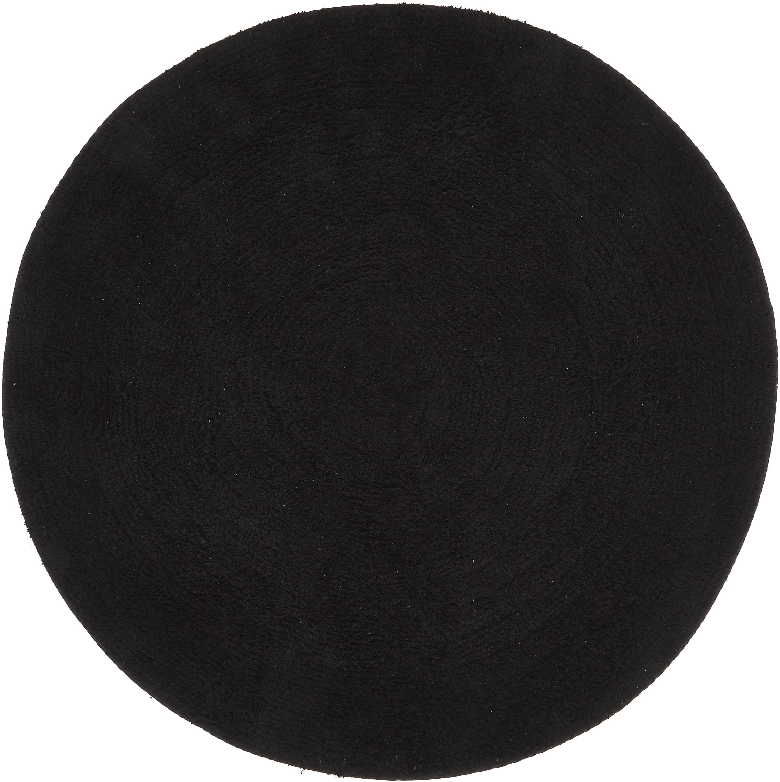 Tappeto bagno rotondo Emma, 100% cotone, Nero, Ø 90 cm