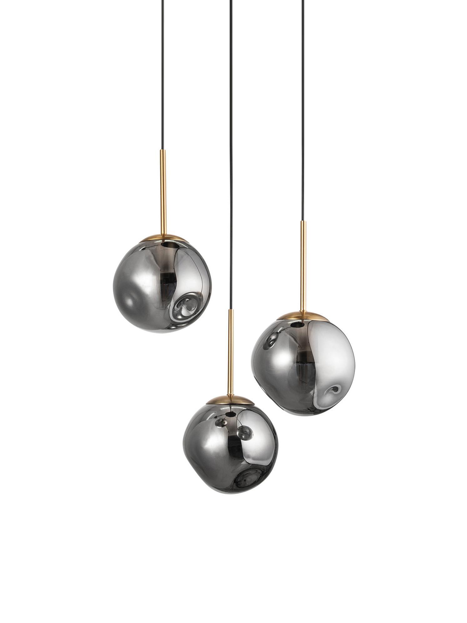 Pendelleuchte Spada aus Glas, Lampenschirm: Glas, Baldachin: Kunststoff, Messingfarben, Grau, Ø 40 x H 28 cm