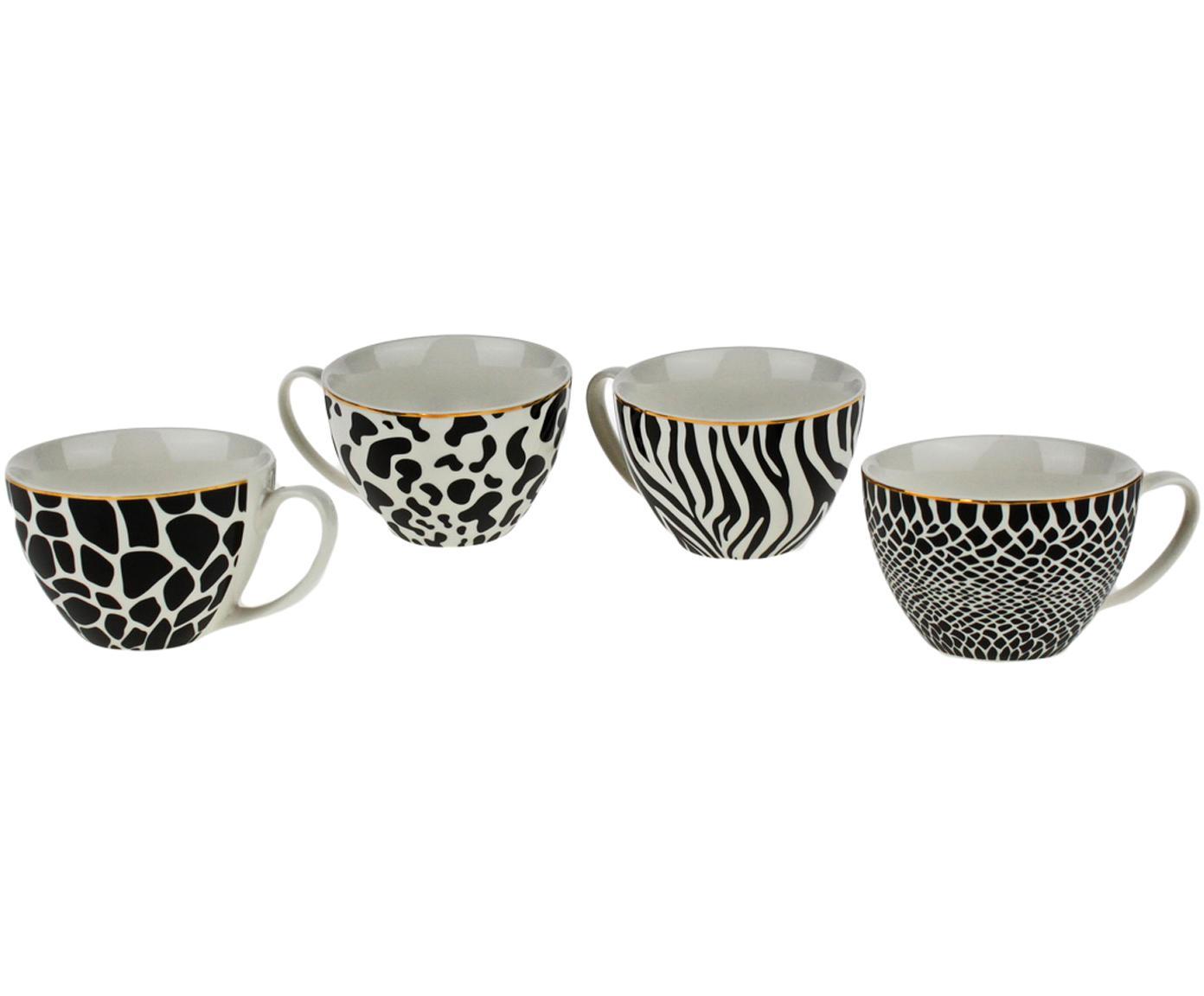 Komplet kubków Wild Jungle, 4 elem., Porcelana, Czarny, biały, Ø 12 x W 8 cm