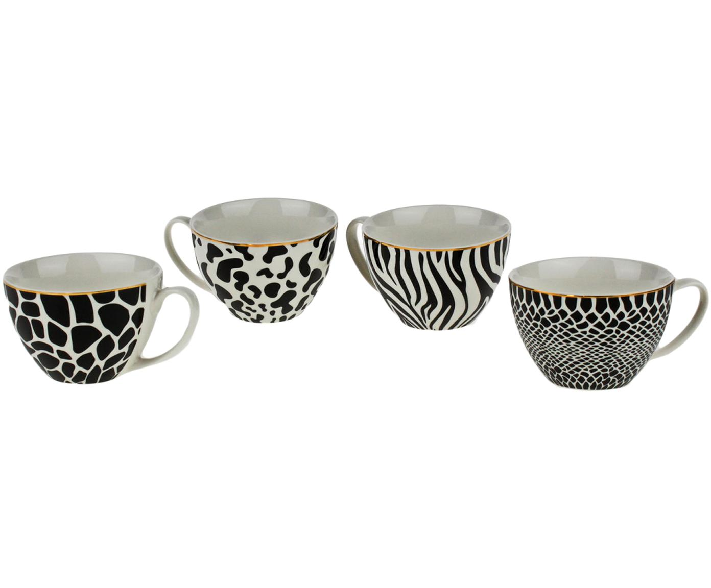 Set de tazas Wild Jungle, 4pzas., Porcelana, Blanco con manchas negras, Ø 12 x Al 8 cm