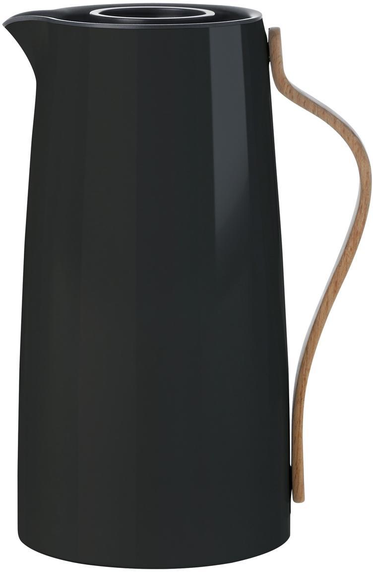 Thermos in nero lucido Emma, Rivestimento: smalto, Manico: legno di faggio, Nero lucido, 1.2 L