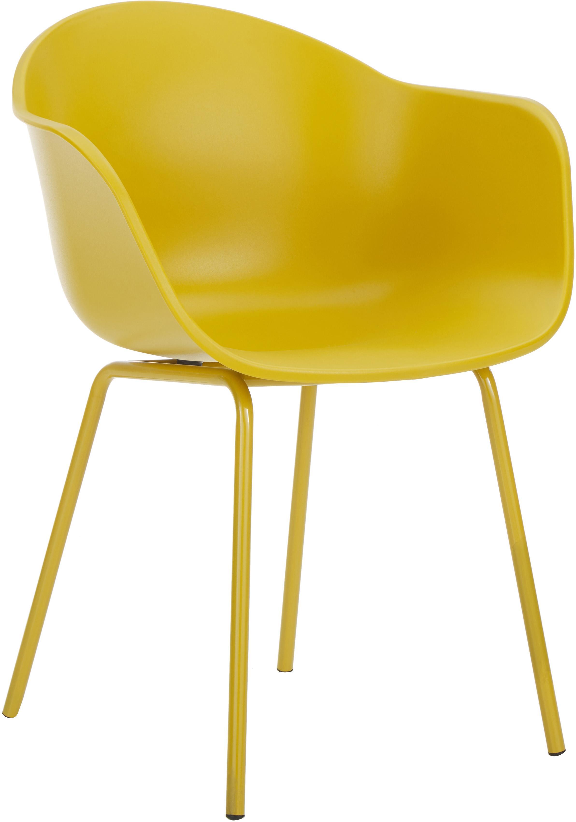 Kunststoff-Armlehnstuhl Claire mit Metallbeinen, Sitzschale: Kunststoff, Beine: Metall, pulverbeschichtet, Gelb, B 54 x T 60 cm
