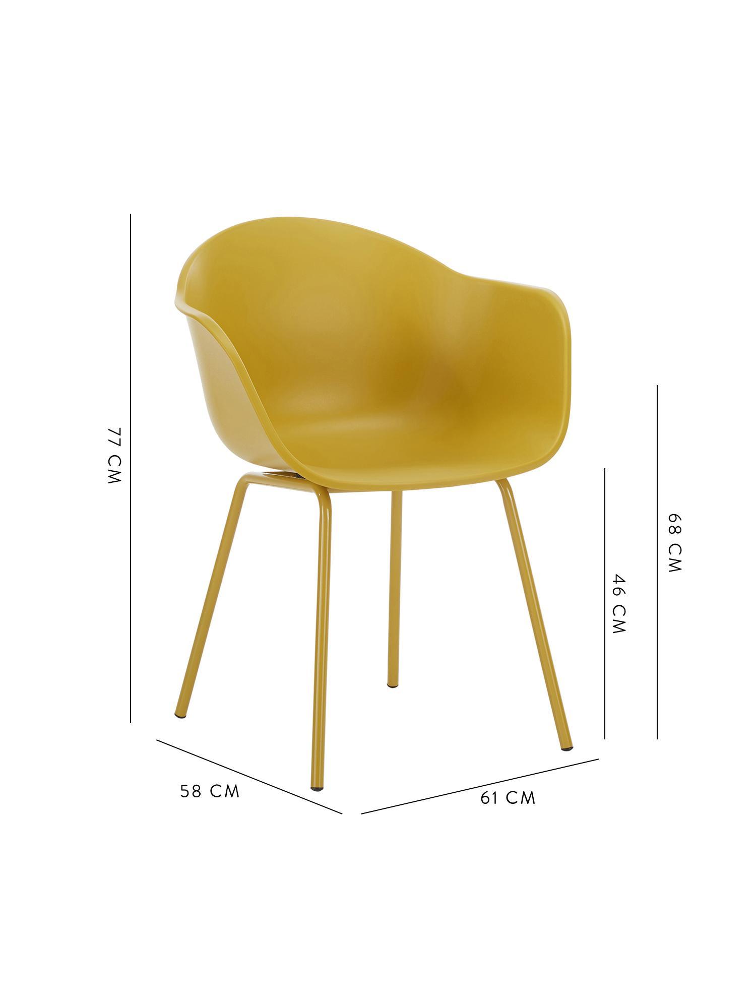 Sedia con braccioli in plastica con gambe in metallo Claire, Seduta: materiale sintetico, Gambe: metallo verniciato a polv, Giallo, Larg. 54 x Prof. 60 cm