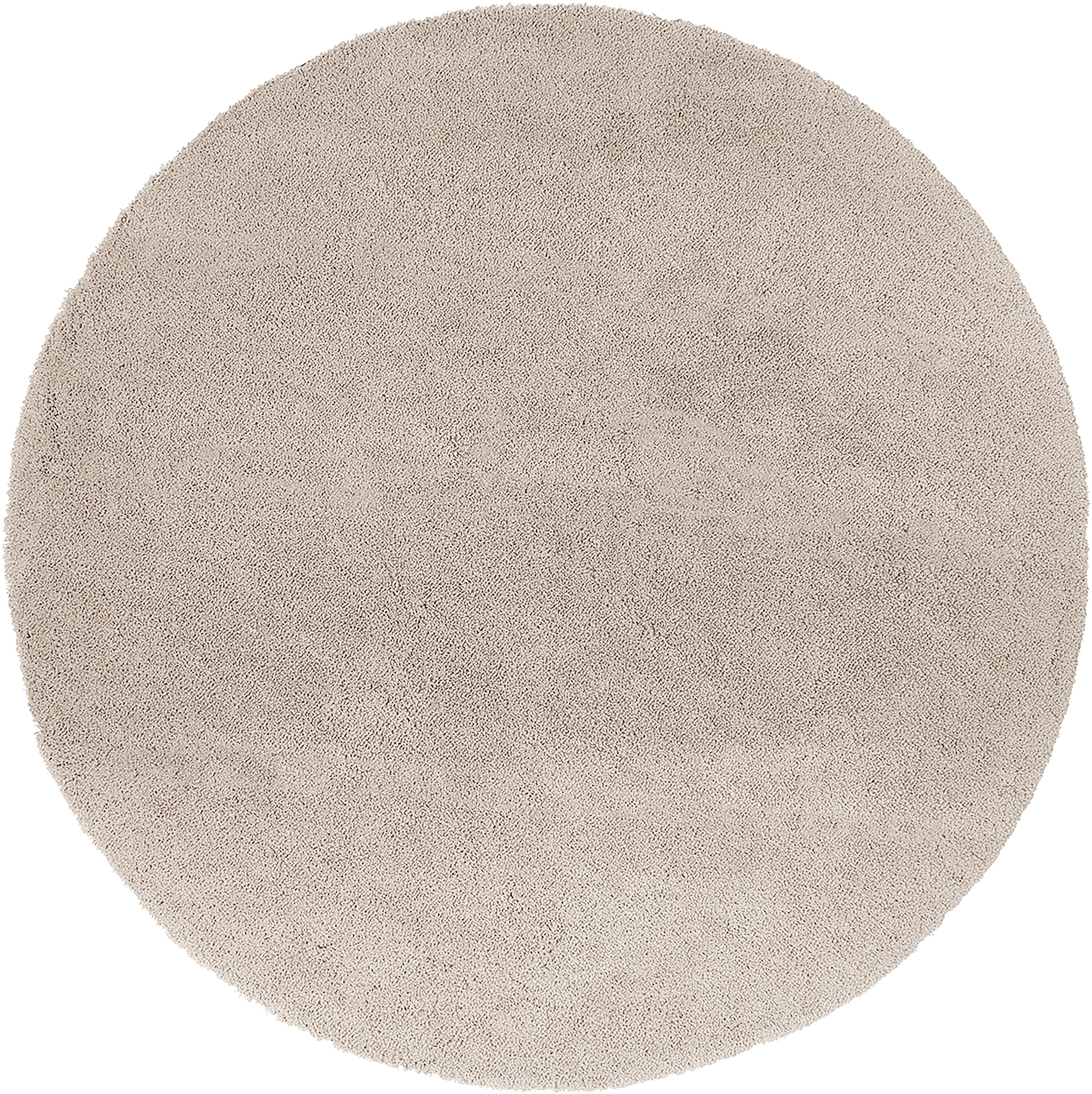 Alfombra redonda de pelo largo Leighton, Parte superior: 100%poliéster (microfibr, Reverso: 70%poliéster, 30%algodó, Beige, Ø 200 cm (Tamaño L)