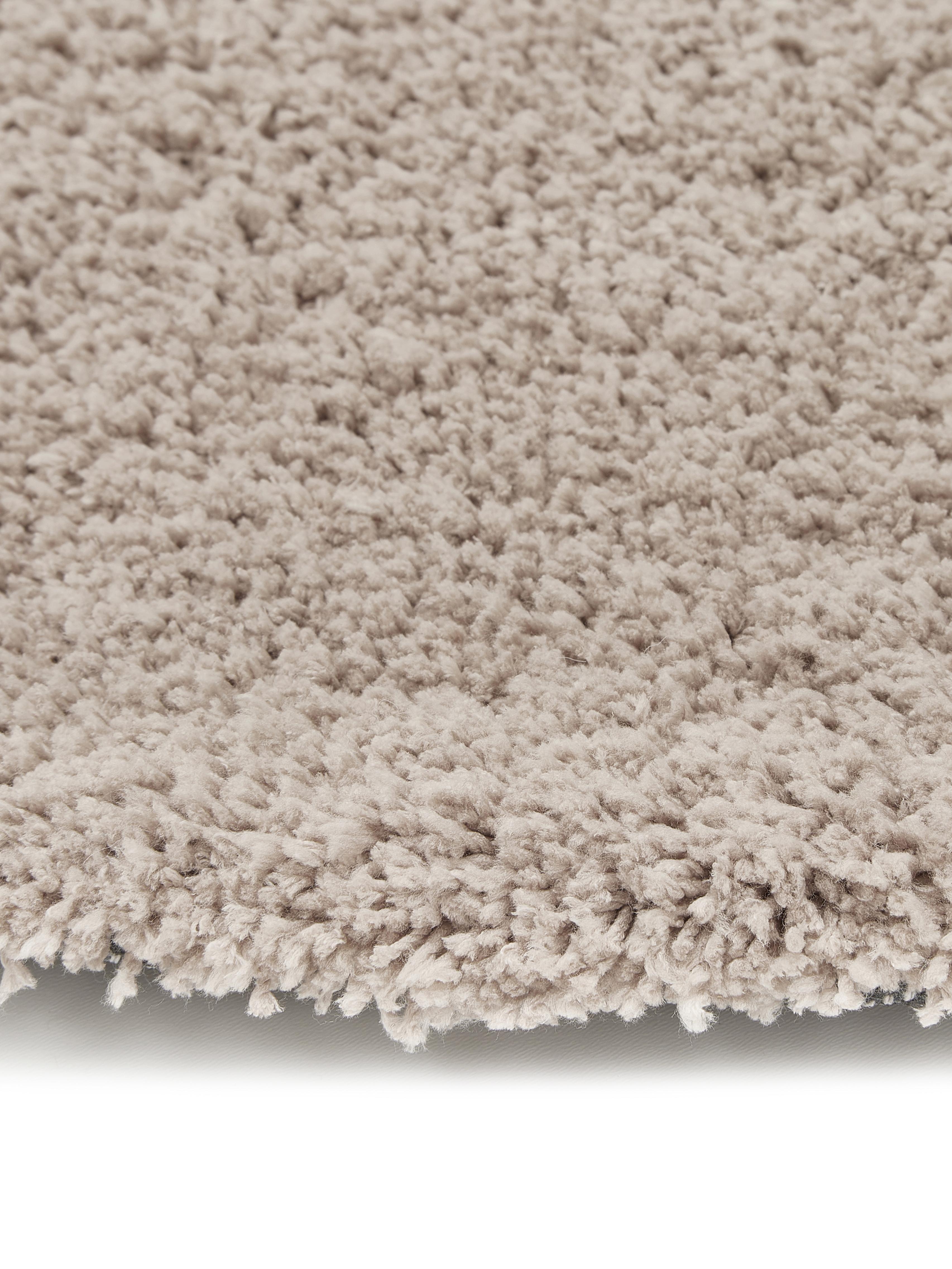 Flauschiger runder Hochflor-Teppich Leighton in Beige, Flor: 100% Polyester (Mikrofase, Beige-Braun, Ø 120 cm (Größe S)