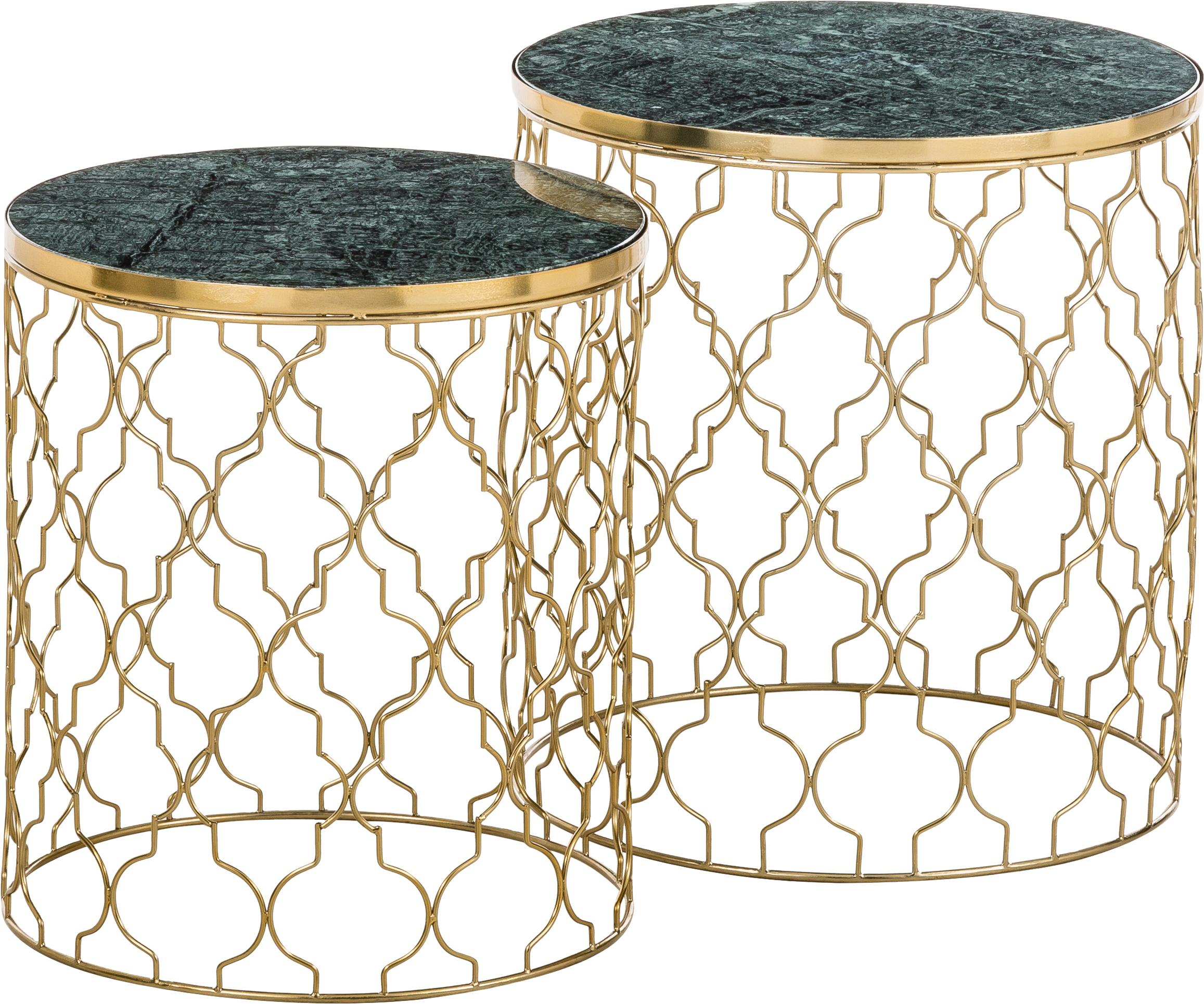 Set 2 tavolini in marmo Blake, Ripiani: marmo, Struttura: metallo rivestito, Piani d'appoggio: marmo verde Struttura: dorato, lucido, Set in varie misure