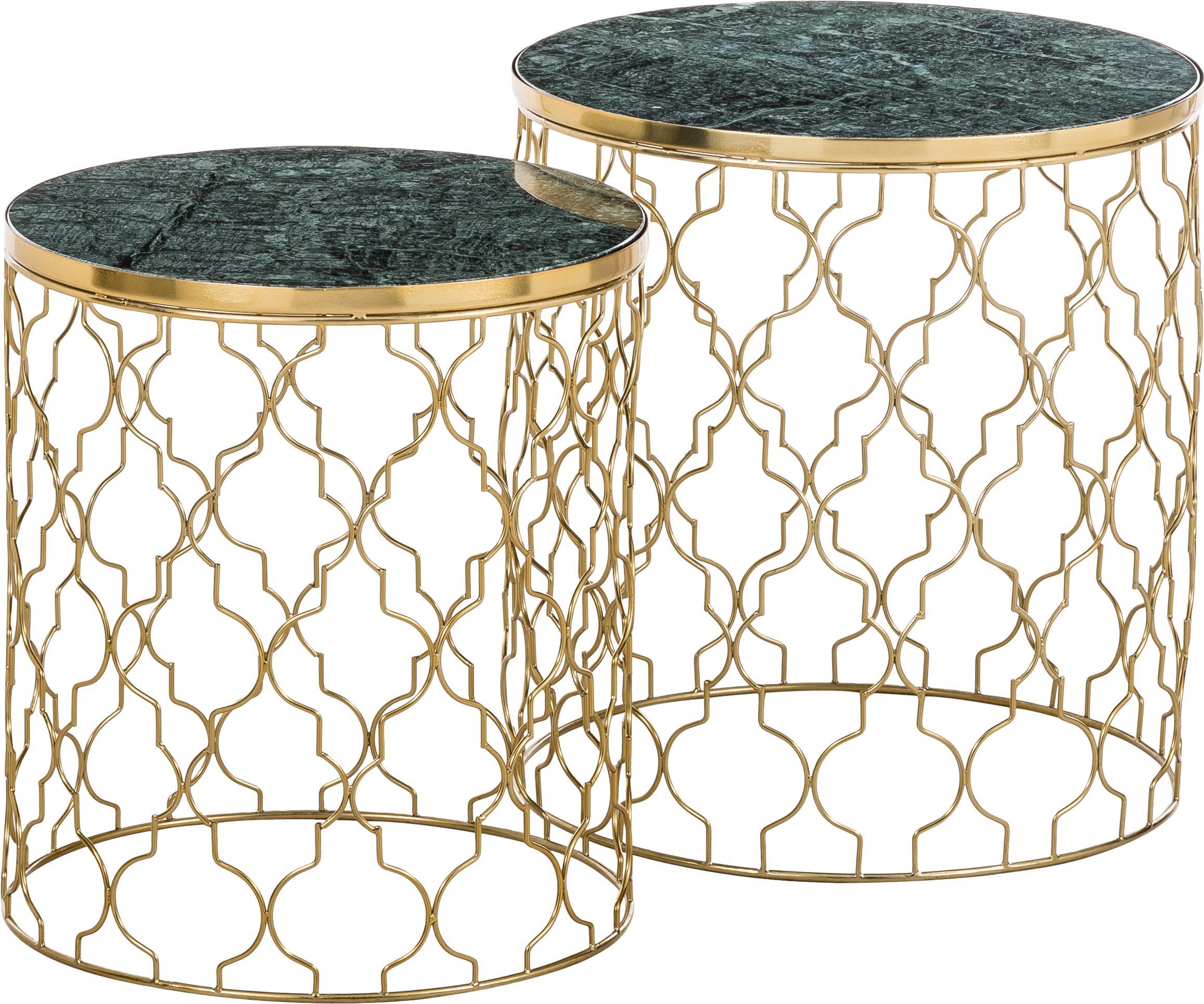 Set de mesas auxiliares de mármol Blake, 2uds., Tablero: mármol natural, Estructura: metal recubierto, Mármol verde, dorado, Set de diferentes tamaños