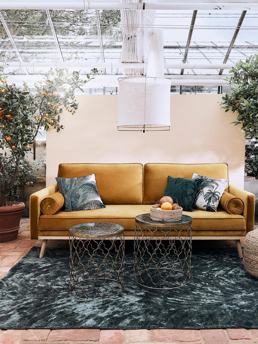 Set 2 tavolini in marmo Blake, Struttura: metallo rivestito, Piani d'appoggio: marmo verde Struttura: dorato, lucido, Diverse dimensioni