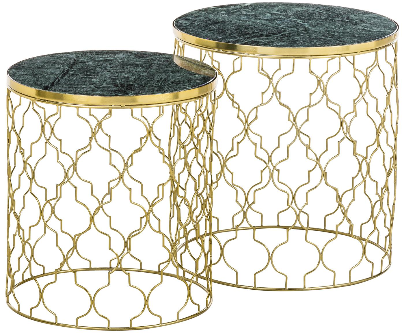 Marmor-Beistelltisch-Set Blake, 2-tlg., Tischplatten: Grüner MarmorGestelle: Goldfarben, glänzend, ∅ 45 x H 50 cm