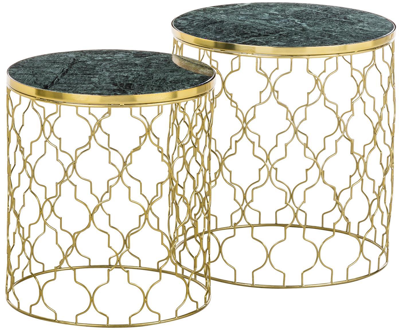 Set de mesas auxiliares de mármol Blake, 2uds., Tablero: mármol natural, Estructura: metal, recubierto, Tablero: mármol verde Estructura: dorado brillante, Tamaños diferentes