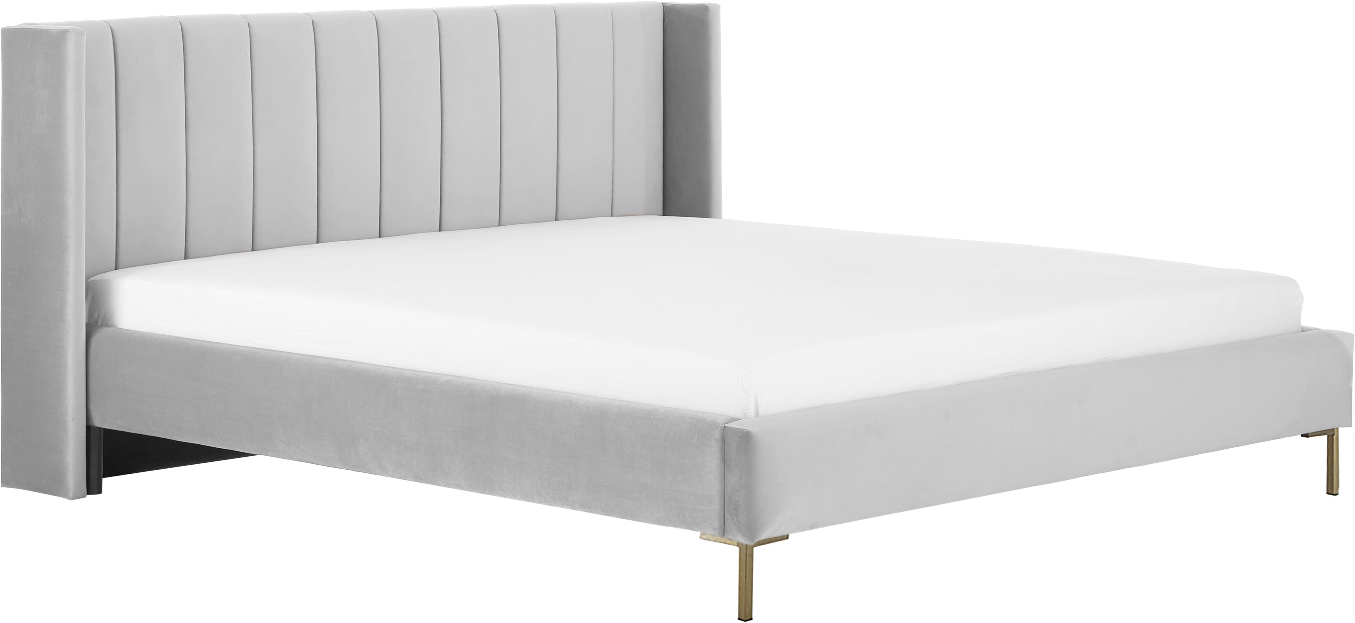 Łóżko tapicerowane z aksamitu Dusk, Korpus: lite drewno sosnowe, Nogi: metal malowany proszkowo, Tapicerka: aksamit poliestrowy 3000, Jasny szary, 200 x 200 cm