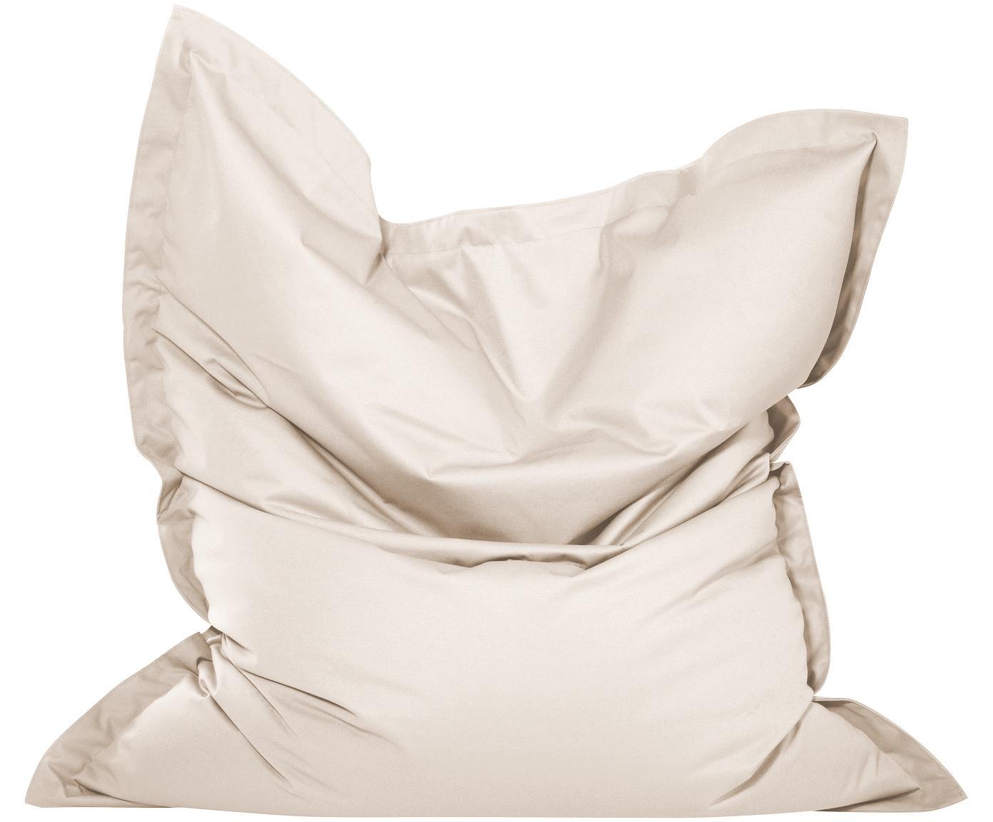Outdoor zitzak Wave, Bekleding: 75% katoen, 25% polyester, Crèmekleurig, 130 x 160 cm