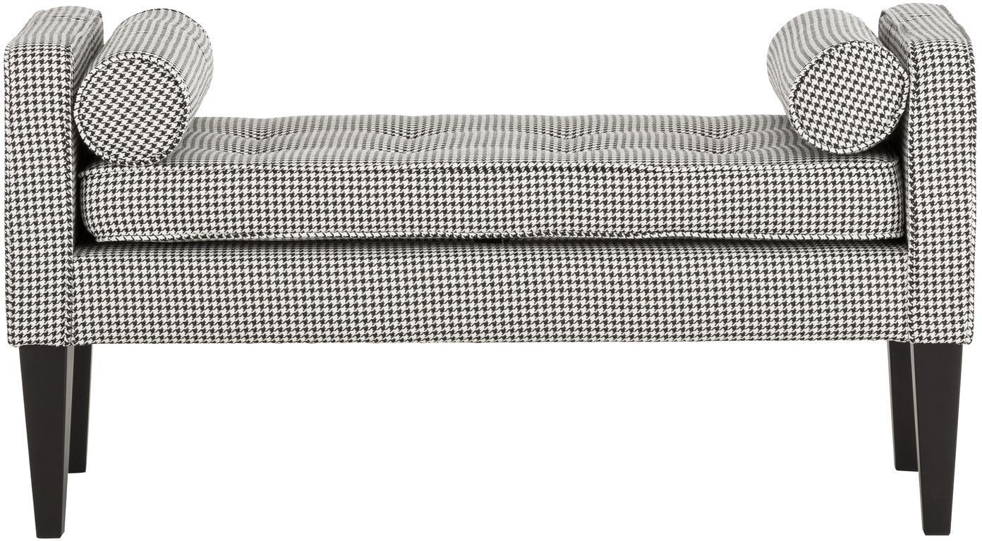 Banco Mia, con cojines, Tapizado: 67%polipropileno, 33%po, Patas: madera de abedul, pintada, Negro, blanco, An 115 x Al 61 cm