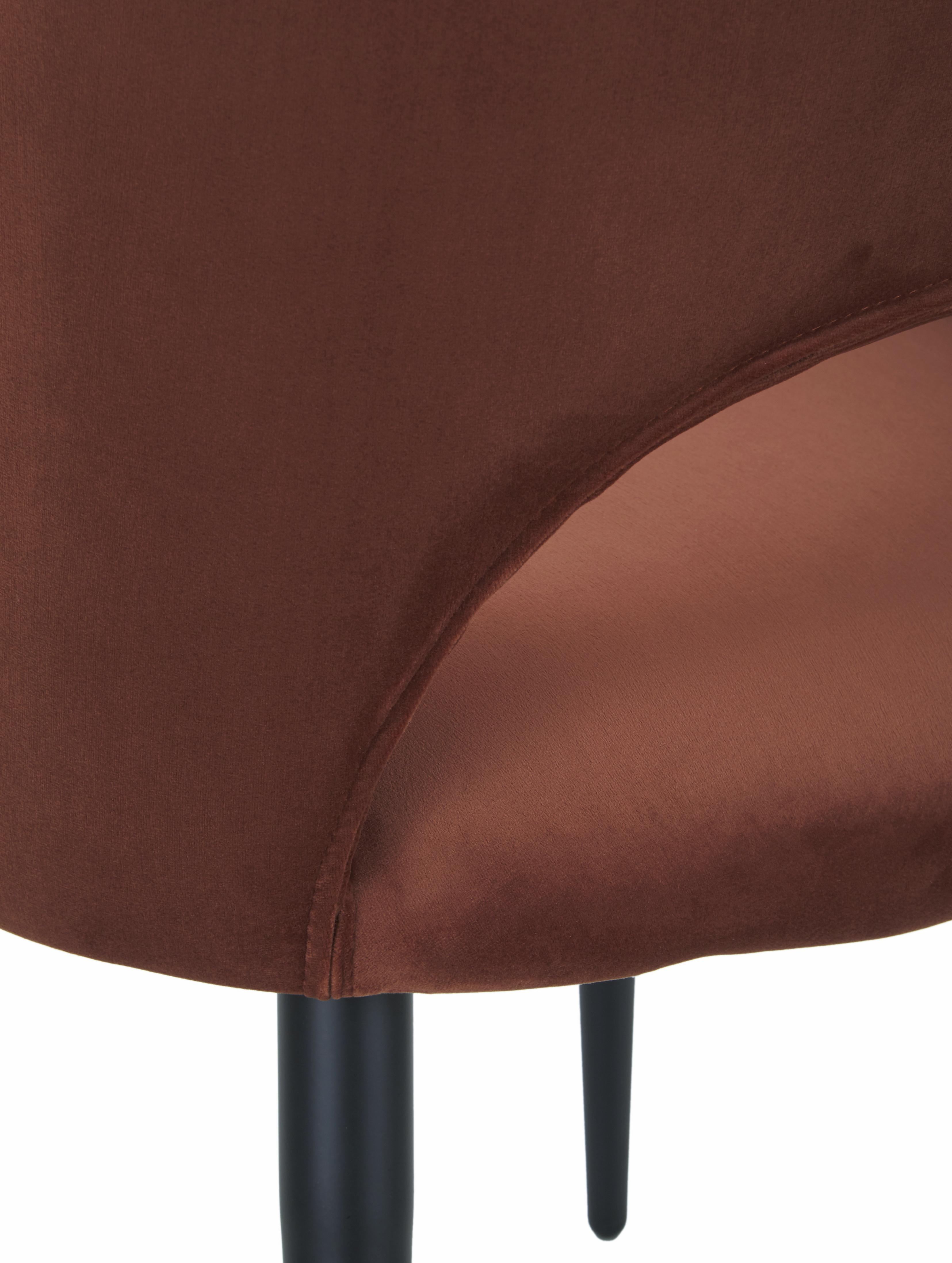 Silla con reposabrazos de terciopelo Rachel, Tapizado: terciopelo (poliéster) 50, Patas: metal con pintura en polv, Terciopelo marrón, An 47 x F 64 cm