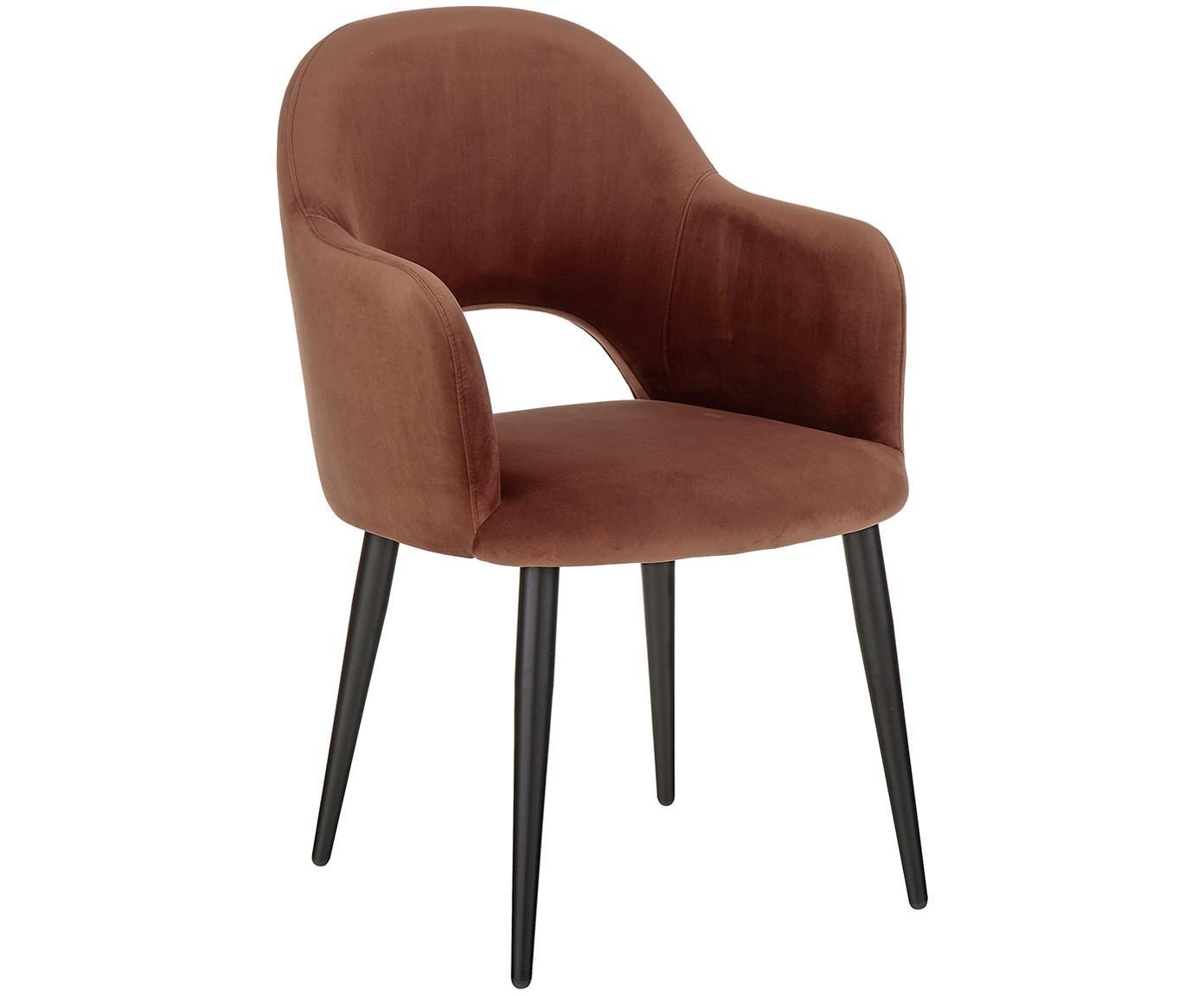 Sedia con braccioli in velluto Rachel, Rivestimento: velluto (poliestere) 50.0, Gambe: metallo verniciato a polv, Rivestimento: marrone Gambe: nero opaco, Larg. 47 x Prof. 64 cm
