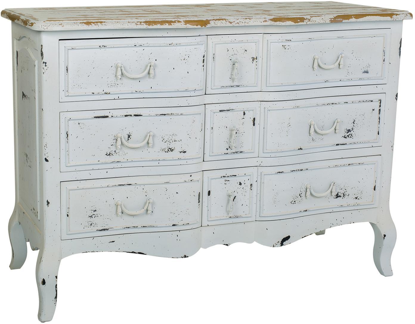 Cómoda de madera de abeto Laros, Blanco, An 120 x Al 84 cm