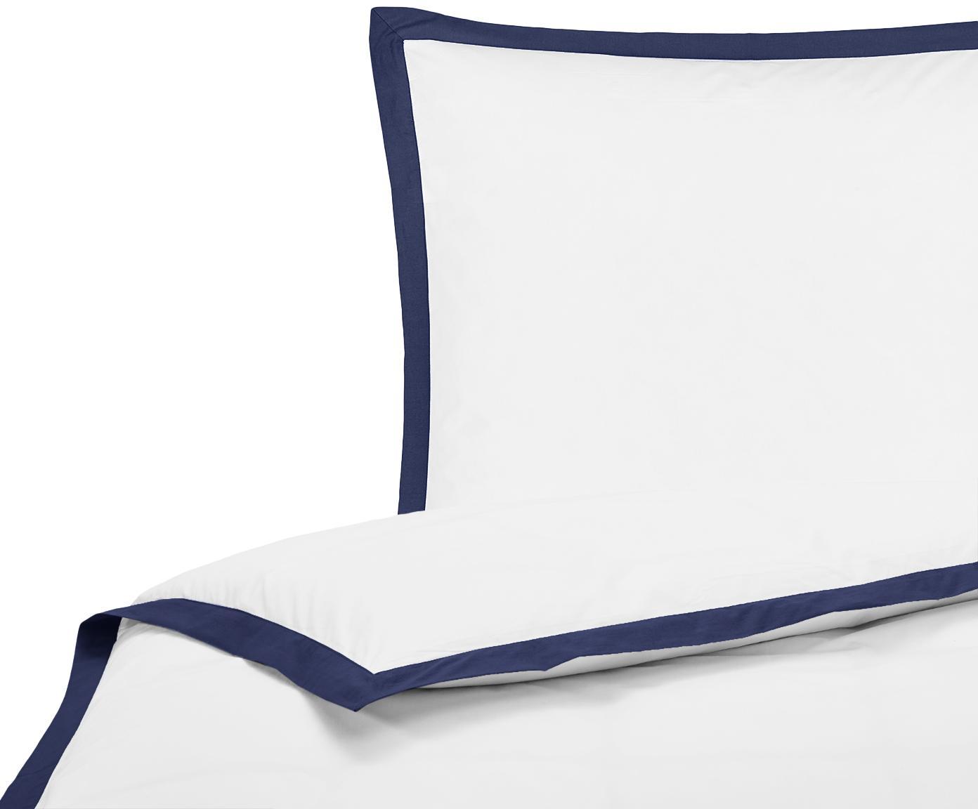 Baumwollperkal-Bettwäsche Joanna in Weiß mit blauem Stehsaum, Webart: Perkal Fadendichte 200 TC, Weiß, Dunkelblau, 155 x 220 cm + 1 Kissen 80 x 80 cm