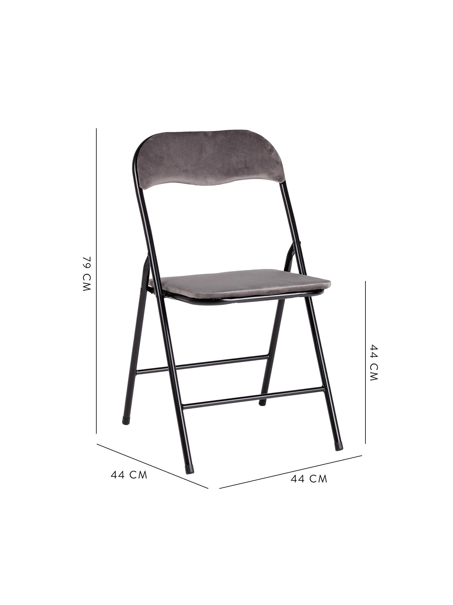 Krzesło składane z aksamitu Amal, Tapicerka: aksamit poliestrowy, Stelaż: metal malowany proszkowo, Szary, S 44 x G 44 cm