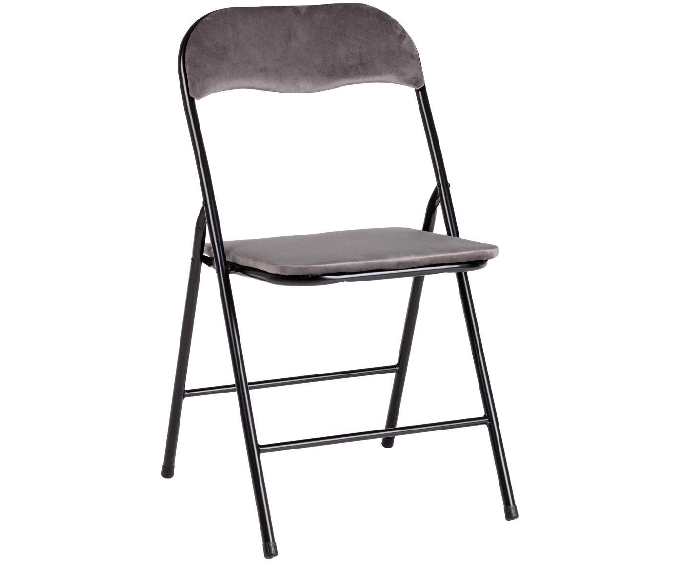 Sedia pieghevole in velluto Amal, Rivestimento: velluto di poliestere, Struttura: metallo verniciato a polv, Grigio, Larg. 44 x Prof. 44 cm