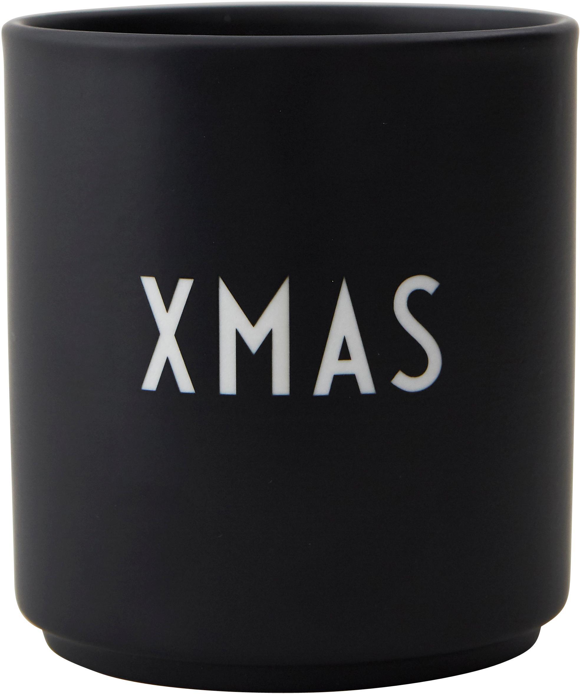 Design Becher Favourite XMAS in Schwarz mit Schriftzug, Fine Bone China (Porzellan), Schwarz, Weiß, Ø 8 x H 9 cm