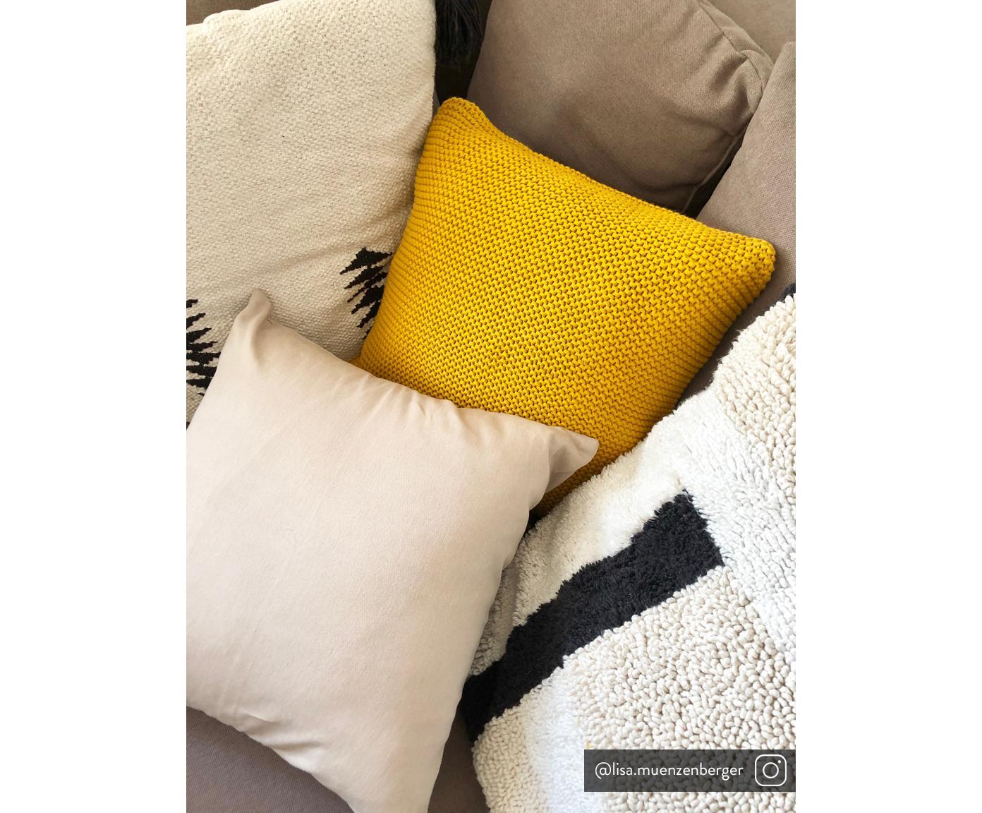 Baumwoll-Kissenhülle Mads in Beige, 100% Baumwolle, Beige, 50 x 50 cm