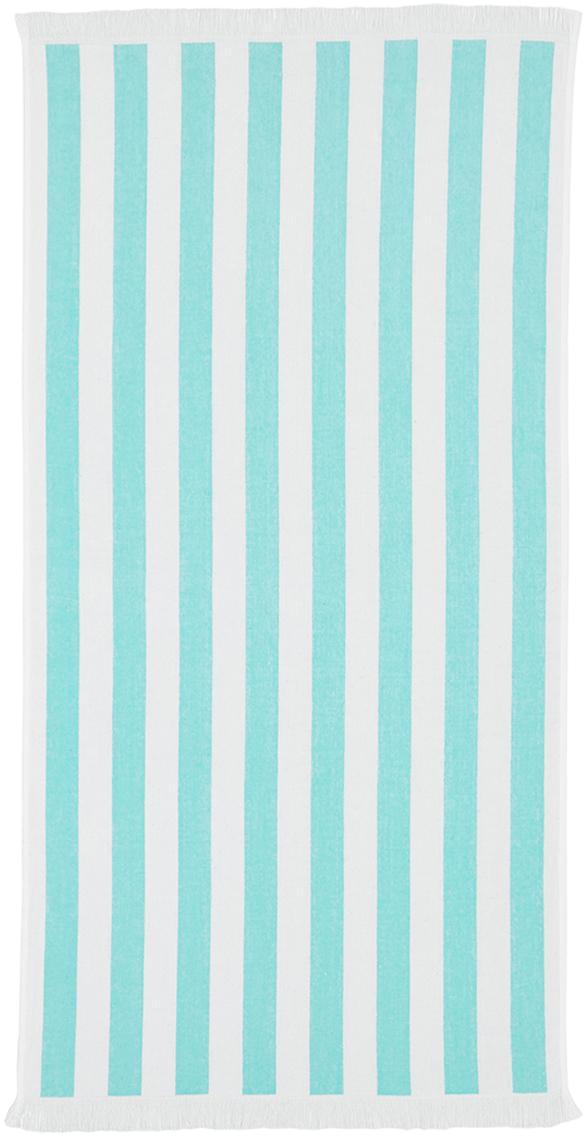 Gestreiftes Strandtuch Mare, 100% Baumwolle leichte Qualität 380 g/m², Türkis, Weiss, 80 x 160 cm