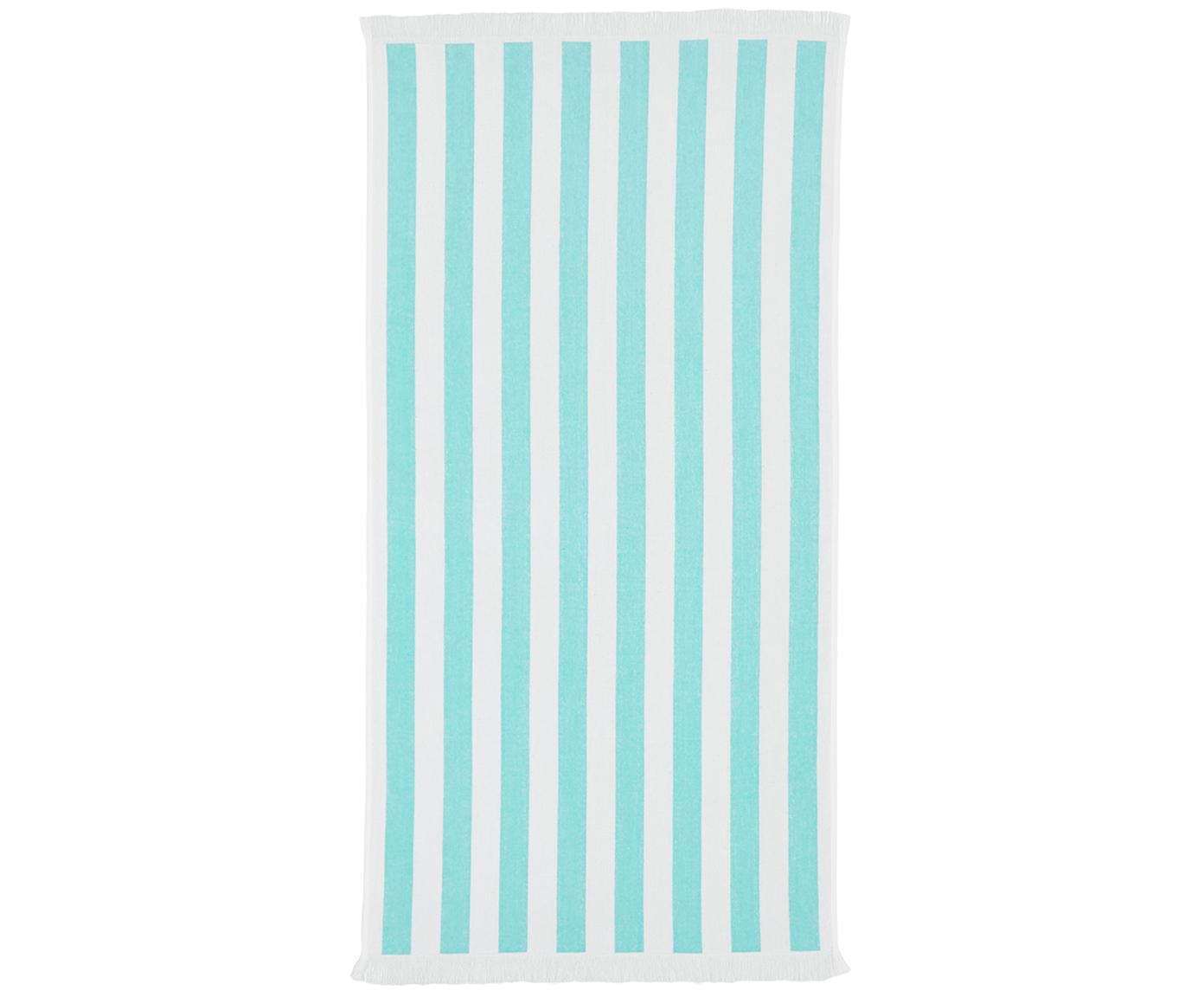 Gestreiftes Strandtuch Mare, 100% Baumwolle leichte Qualität 380 g/m², Türkis, Weiß, 80 x 160 cm