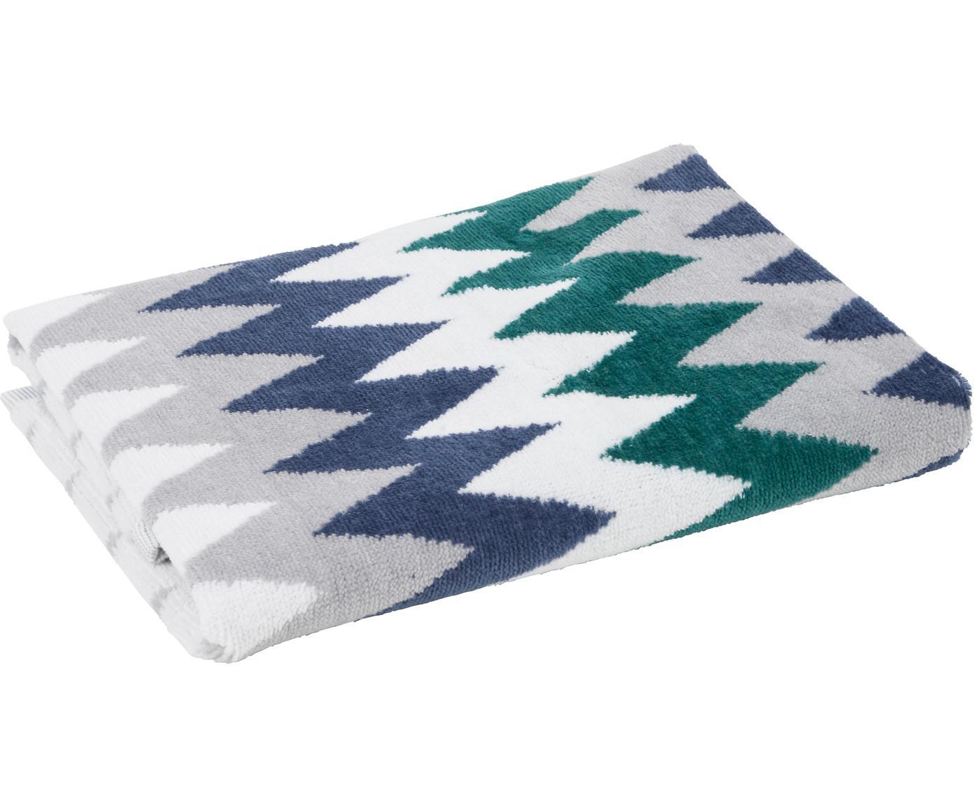 Asciugamano con motivo a zigzag Hanneke, Cotone, Blu, grigio, bianco, verde, Asciugamano per ospiti