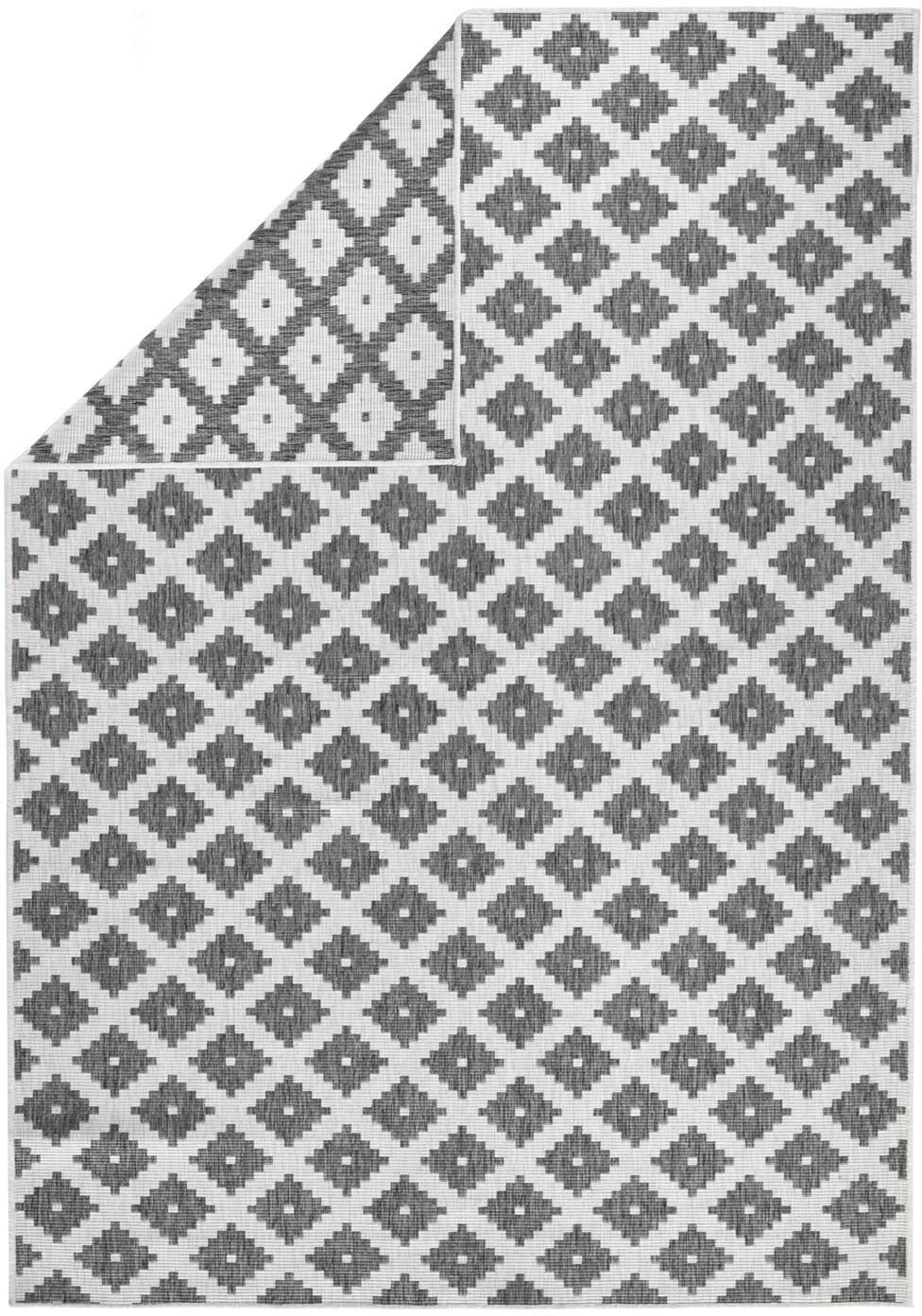 In- und Outdoor-Wendeteppich Nizza in Grau/Creme, Grau, Cremefarben, B 80 x L 150 cm (Grösse XS)