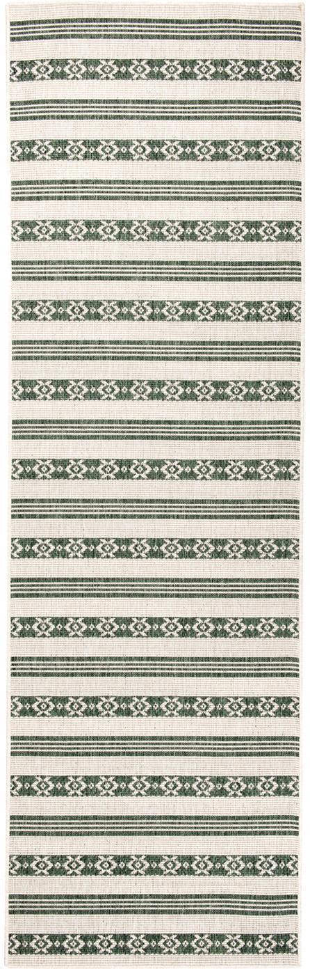Dubbelzijdige in- en outdoor loper Fiji in groen/crèmekleur, 100% polypropyleen, Groen, crèmekleurig, 80 x 250 cm
