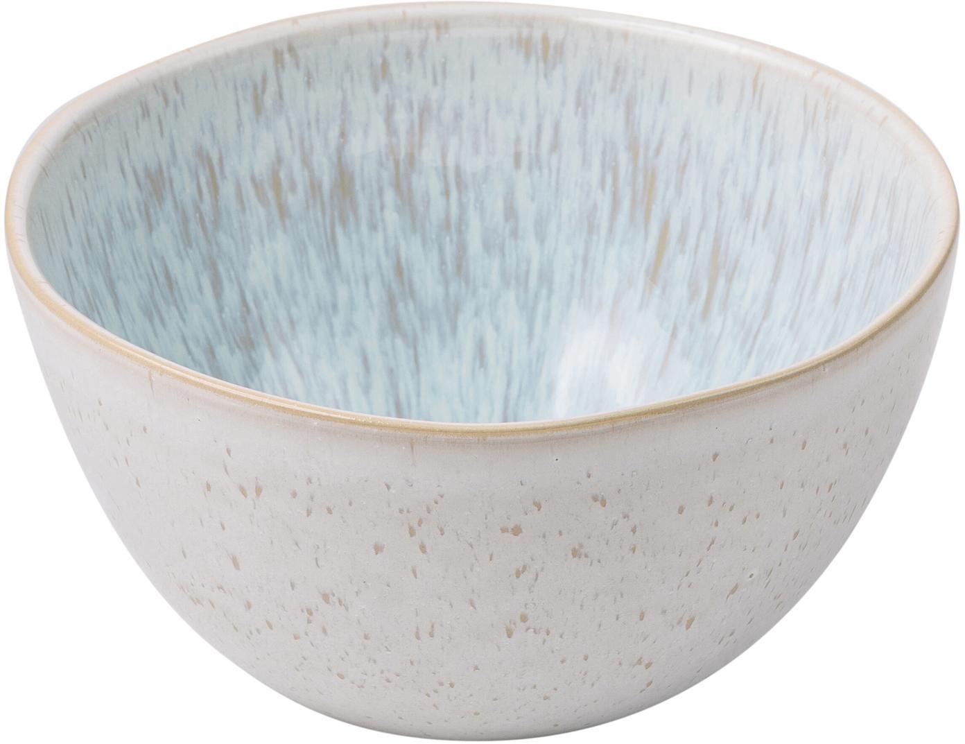 Handbemalte Schälchen Areia mit reaktiver Glasur, 2 Stück, Steingut, Hellblau, Gebrochenes Weiss, Hellbeige, Ø 15 x H 8 cm
