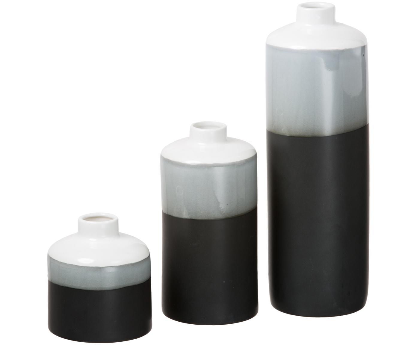 Set de jarrones de porcelana Brixa, 3pzas., Porcelana, Negro, gris, blanco, mate, Tamaños diferentes