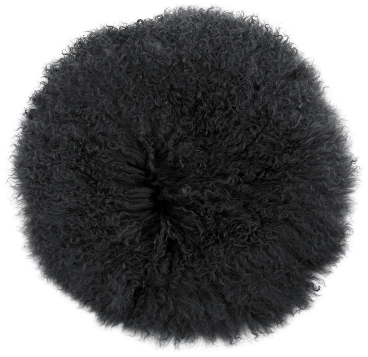 Zitkussen van langharige schapenvacht Ella, Bovenzijde: 100% Mongoolse schapenvac, Onderzijde: 100% polyester, Donkergrijs, Ø 37 cm