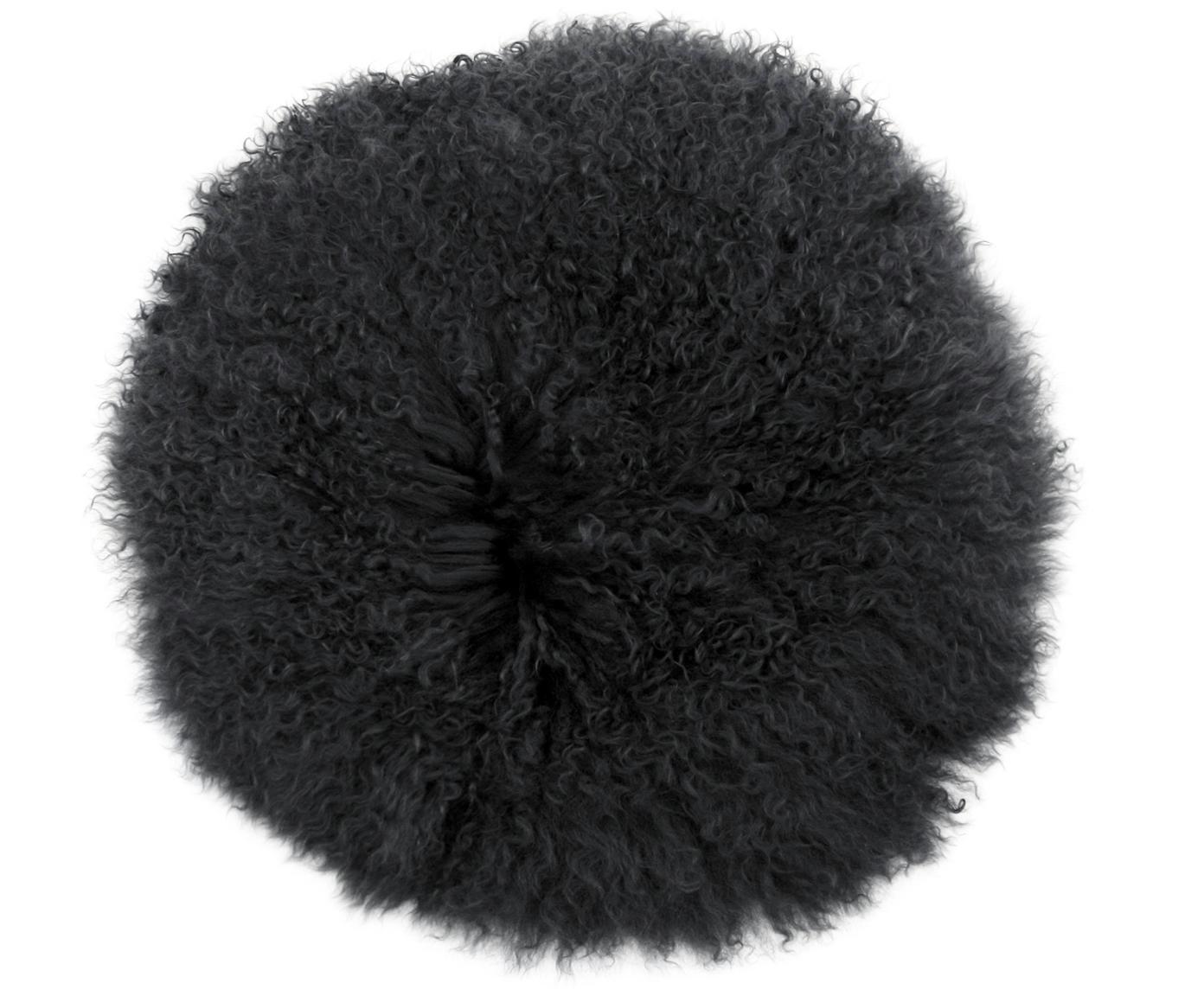 Runde Langhaar-Lammfell Sitzauflage Ella, gelockt, Vorderseite: 100% mongolisches Lammfel, Rückseite: 100% Polyester, Dunkelgrau, Ø 37 cm