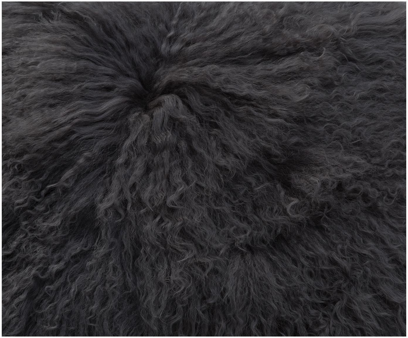 Galette de chaise en peau d'agneau à longs poils frisés Ella, Gris