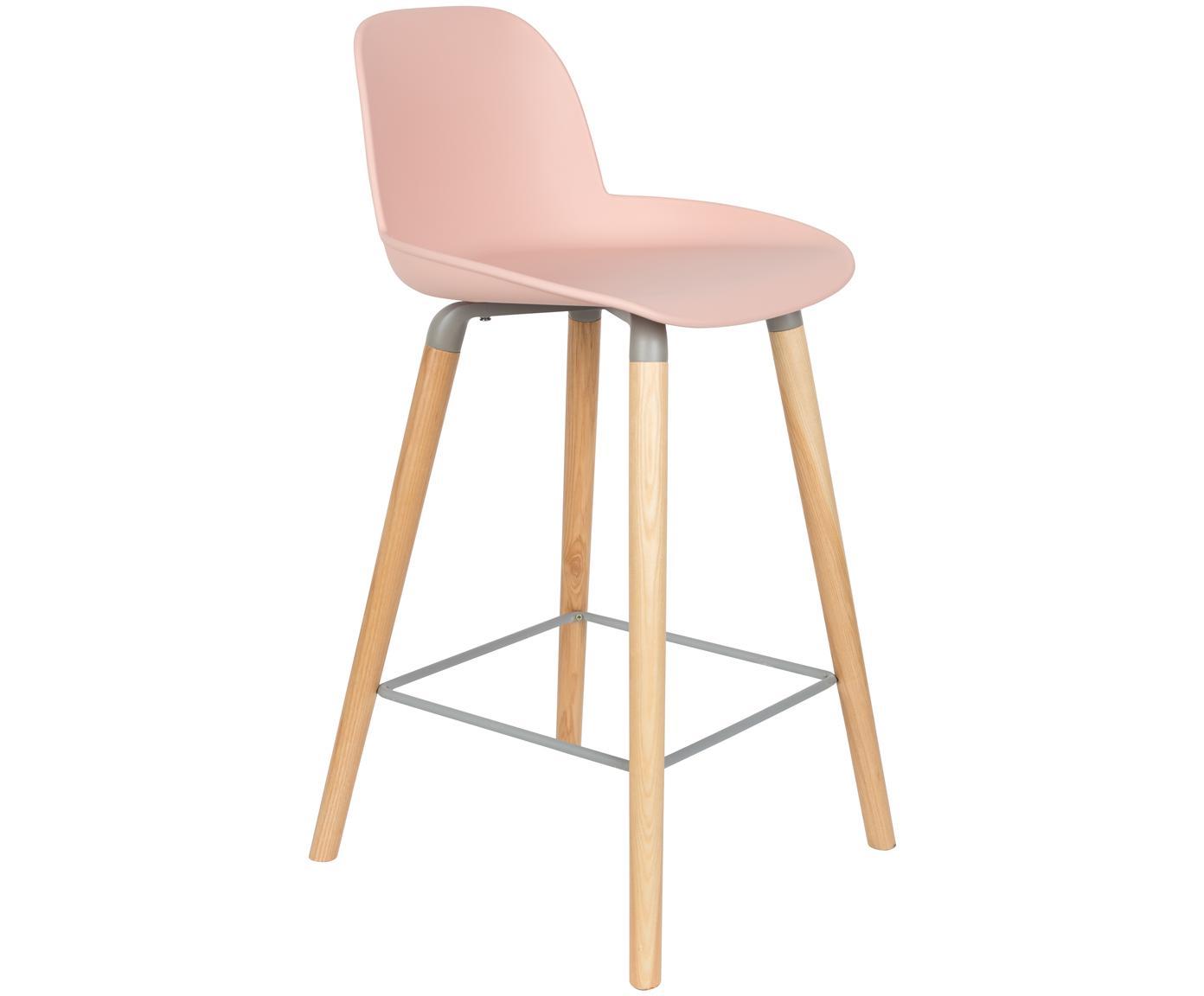 Design Barstuhl Albert Kuip, Beine: Eschenholz, Rahmen: Aluminium, Sitz: Rosa Beine: Esche Rahmen und Fussstütze: Grau, 45 x 89 cm