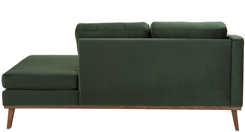Samt-Ottomane Alva, Bezug: Samt (Hochwertiger Polyes, Gestell: Massives Kiefernholz, Füße: Massives Buchenholz, gebe, Samt Oliv, B 193 x T 94 cm