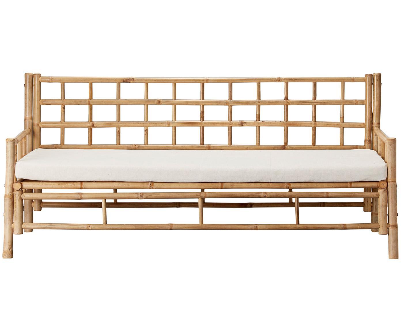 Bambus-Sofa Mandisa (3-Sitzer) mit Sitzpolster, Gestell: Bambus, unbehandelt, Bezug: Segeltuch, Bambus, Weiss, B 180 x T 70 cm
