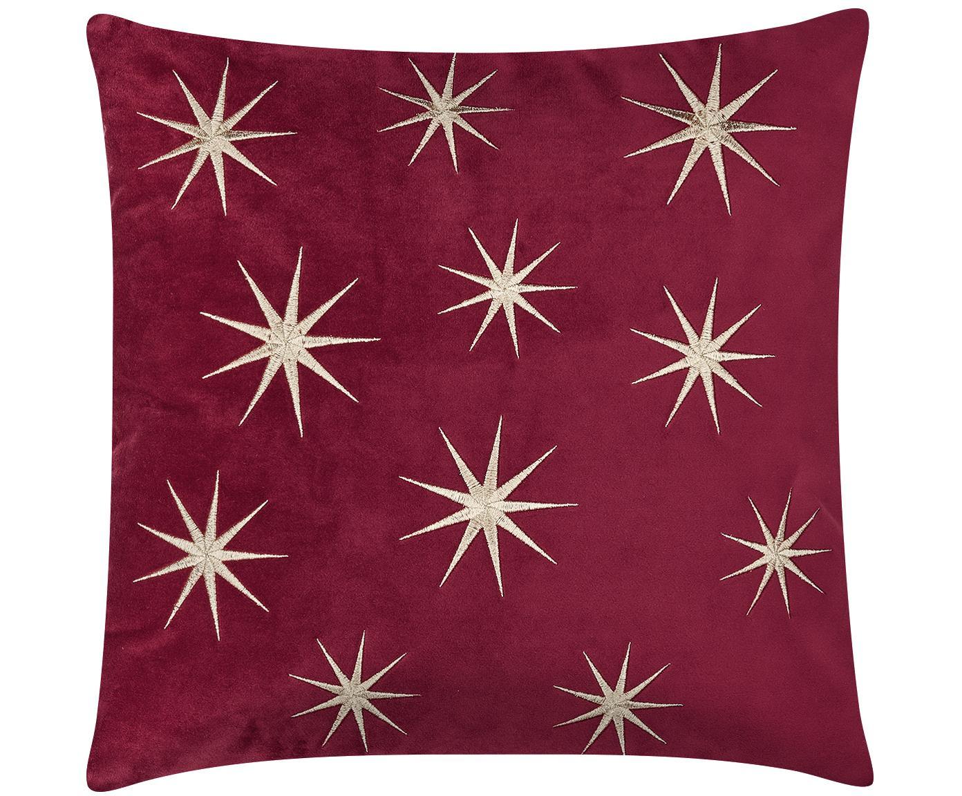 Bestickte Samt-Kissenhülle Stars mit winterlichen Sternenmotiven, Rot, 45 x 45 cm