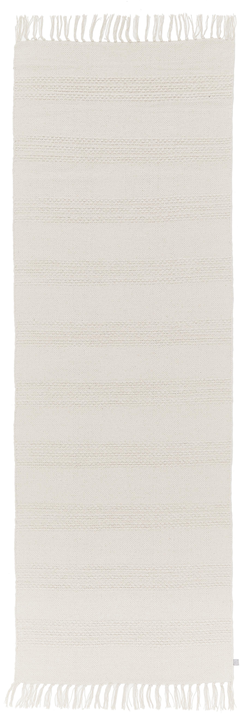 Loper Vanya in wit met gestructureerde strepen en franjes, Katoen, Wit, 70 x 200 cm
