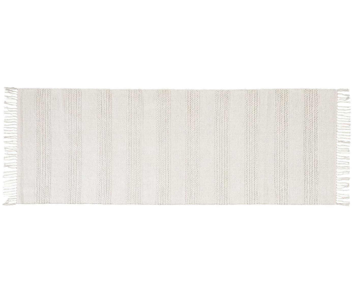 Alfombra texturizada con flecos Vanya, Algodón, Blanco, An 70 x L 200 cm