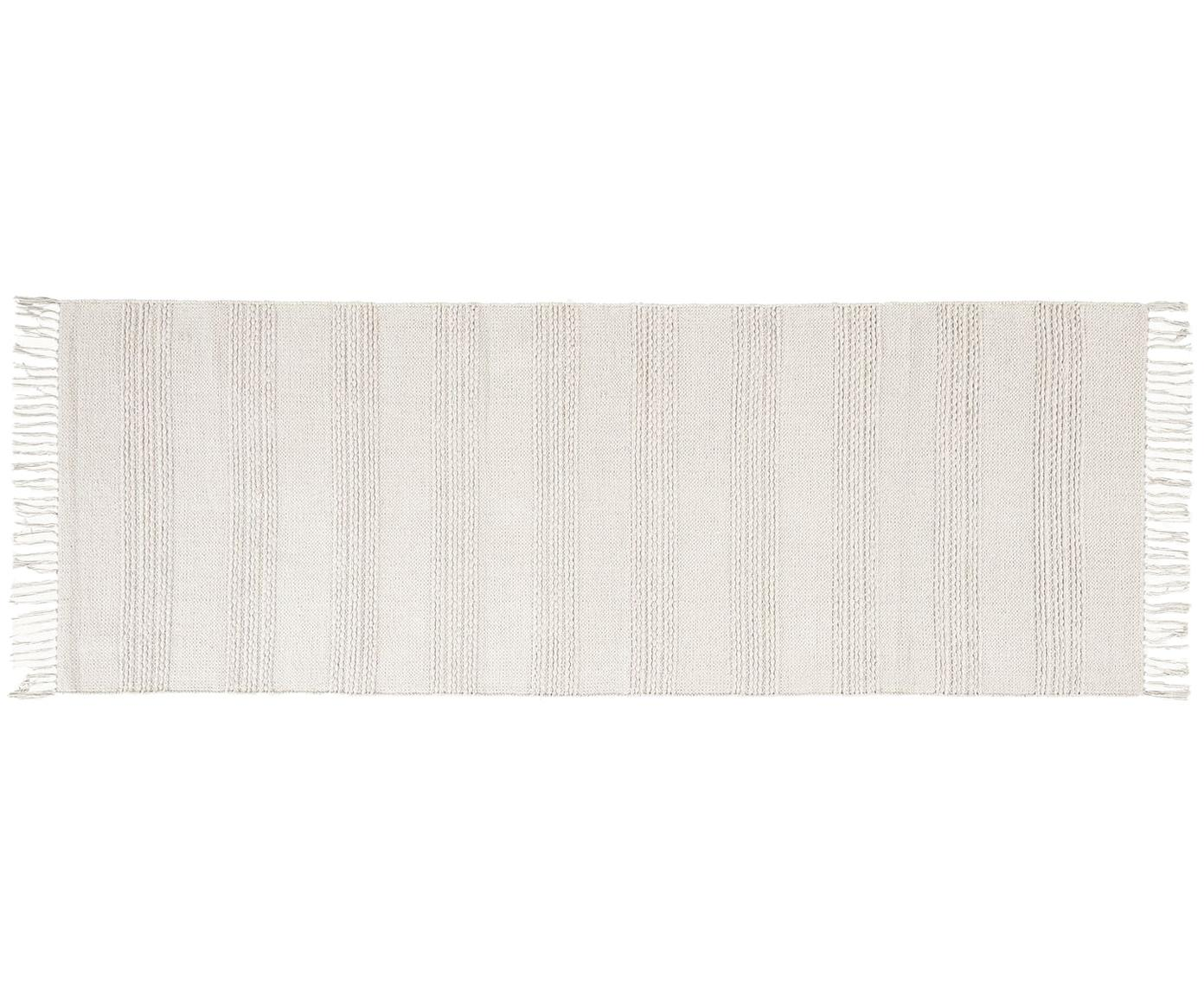 Chodnik z frędzlami Vanya, Bawełna, Biały, S 70 x D 200 cm